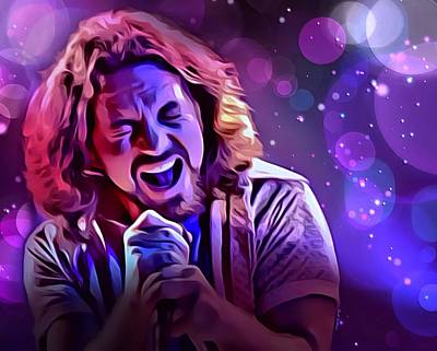 Pearl Jam Digital Art - Eddie Vedder Portrait by Scott Wallace