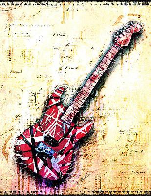 Van Halen Digital Art - Eddie's Guitar Variation 07 by Gary Bodnar