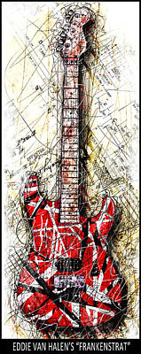 Van Halen Digital Art - Eddie's Guitar Vert 1b by Gary Bodnar