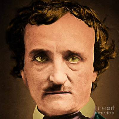 Haunted Digital Art - Edgar Allan Poe The Raven 20160420 Square by Wingsdomain Art and Photography