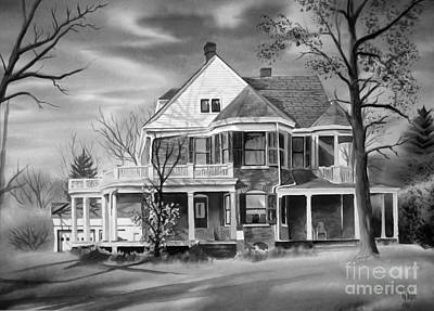 Autumn Scenes Mixed Media - Edgar Home Bw by Kip DeVore