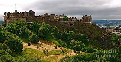 Aeriel View Mixed Media - Edinburgh Castle by Louise Fahy