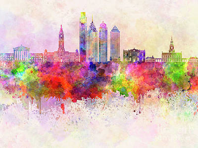 Philadelphia Skyline Painting - Philadelphia Skyline In Watercolor Background by Pablo Romero