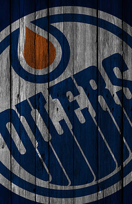 Goalie Digital Art - Edmonton Oilers Wood Fence by Joe Hamilton
