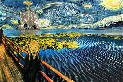 Screaming Painting - Edvard Meets Vincent Posters by Gravityx9  Designs