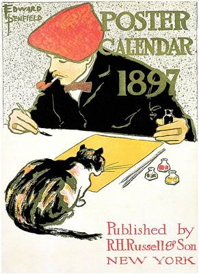 Edward Penfield 1897 Calendar Ad With Cat Print by Aapshop