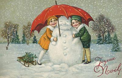 Umbrella Drawing - Edwardian Christmas Card by English School