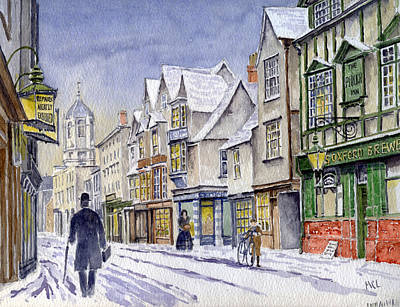 Old Street Painting - Edwardian St. Aldates. Oxford Uk by Mike Lester