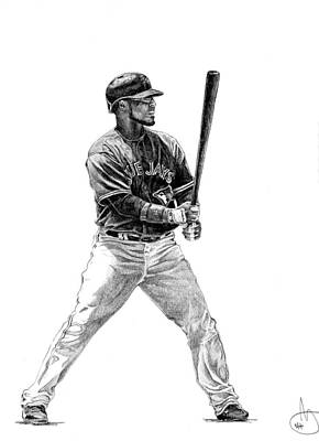 Bluejay Drawing - Edwin Encarnacion by Joshua Sooter