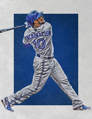 Blue Barn Doors Mixed Media - Edwin Encarnacion Toronto Blue Jays Art by Joe Hamilton