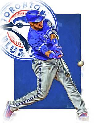 Blue Barn Doors Mixed Media - Edwin Encarnacion Toronto Blue Jays Oil Art by Joe Hamilton