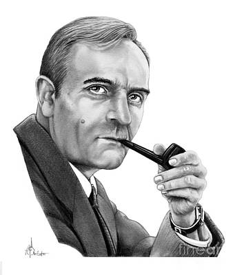 Famous People Drawing - Edwin Hubble by Murphy Elliott