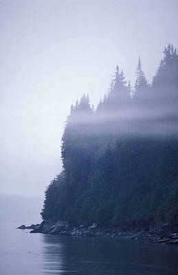Eerie Seascape With Trees, Cliff Print by Rich Reid