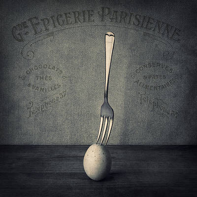 Egg Print featuring the photograph Egg And Fork by Ian Barber