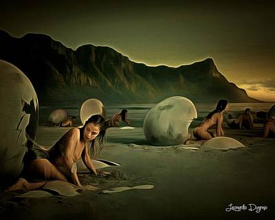 Calcium Painting - Eggs In The Beach by Leonardo Digenio