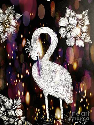 Egret Drawing - Egret 16-01d by Maria Urso