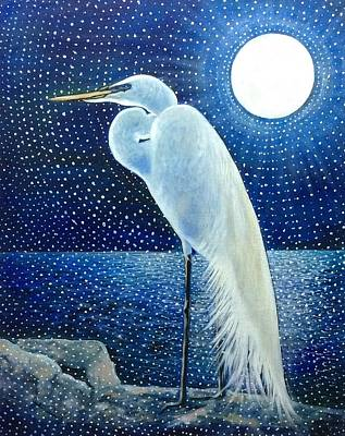 Florid Painting - Egret Energy by Judi Cain