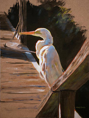Beach Painting - Egret On Dock by Christopher Reid