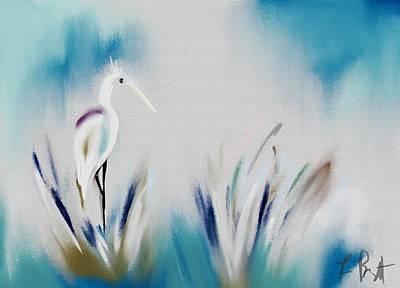 Egret Splash Original by Frank Bright