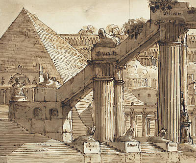 Ink Wash Drawing Drawing - Egyptian Stage Design by Pietro Gonzaga