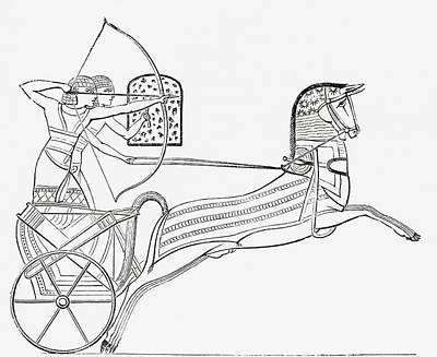 Ancient Civilization Drawing - Egyptian War Chariot. From The Imperial by Vintage Design Pics