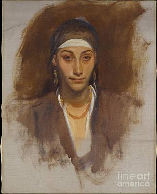 Woman Painting - Egyptian Woman With Earrings by Celestial Images