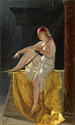 Luis Ricardo Falero Painting - Egyptian Woman With Harp by Luis Ricardo Falero