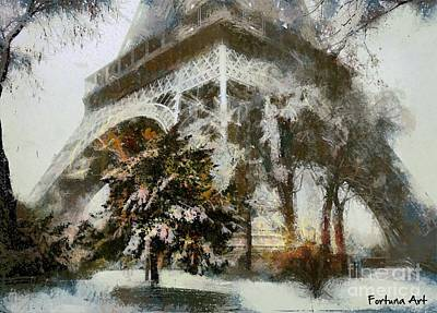 City Scenes Mixed Media - Eiffel In The Snow by Dragica Micki Fortuna
