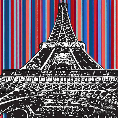 Painting - Eiffel Red Blue by Carla Bank