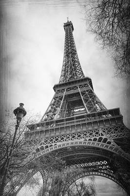 Eiffel Tower And Lamp Post Bw Print by Joan Carroll