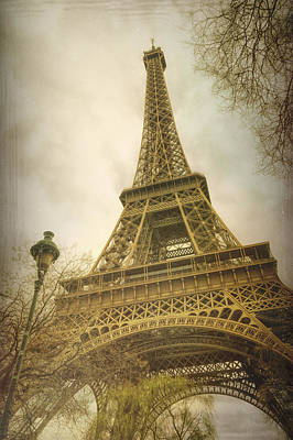 Eiffel Tower And Lamp Post Print by Joan Carroll