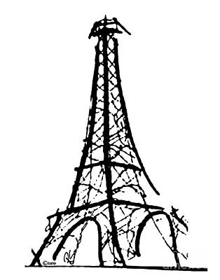 Eiffel Tower Black And White Print by Robyn Saunders