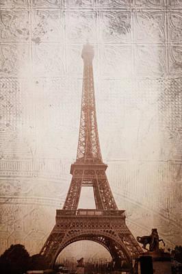 Brown Toned Art Digital Art - Eiffel Tower In The Mist by Christina Lihani
