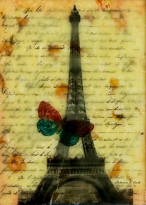 Contemplative Mixed Media - Eiffel Tower Memory Encaustic by Bellesouth Studio