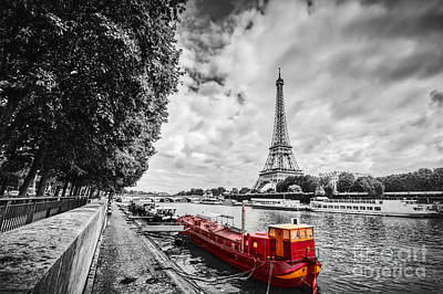 Attraction Photograph - Eiffel Tower Over Seine River In Paris, France. Vintage by Michal Bednarek