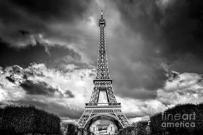 Retro Photograph - Eiffel Tower Seen From Champ De Mars Park In Paris, France. Black And White by Michal Bednarek