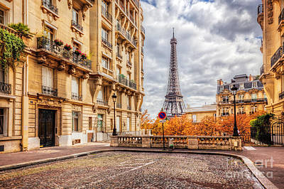 Autumn Photograph - Eiffel Tower Seen From The Street In Paris, France.  Cobblestone Pavement by Michal Bednarek