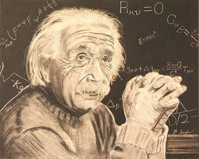 Einstein Drawing - Einstein At Work by Brian Sanford