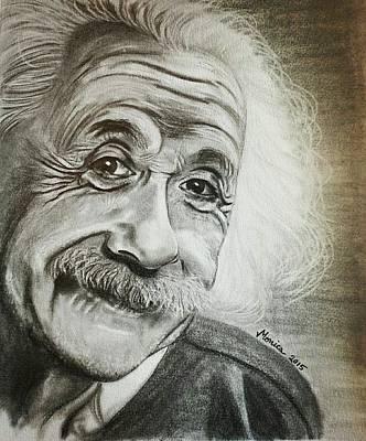 Einstein Drawing - Einstein By Monica by Monica Del Villar