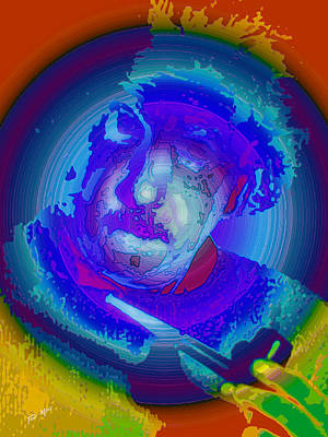 Einstein Painting - Einstien Red White And Blue by Tray Mead