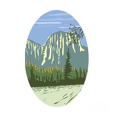 Monolith Digital Art - El Capitan Granite Monolith Oval Wpa by Aloysius Patrimonio