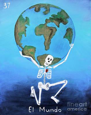 Skull Cards Mixed Media - El Mundo by Sonia Flores Ruiz
