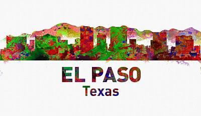 Urban Digital Art - El Paso Skyline - Usa City by Michael Vicin