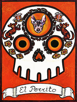 Loteria Painting - El Perrito - The Little Dog by Mix Luera