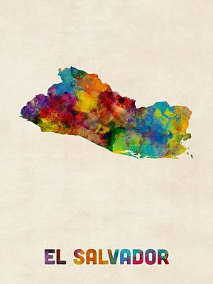 Latin America Digital Art - El Salvador Watercolor Map by Michael Tompsett