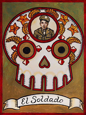 Loteria Painting - El Soldado - The Soldier by Mix Luera