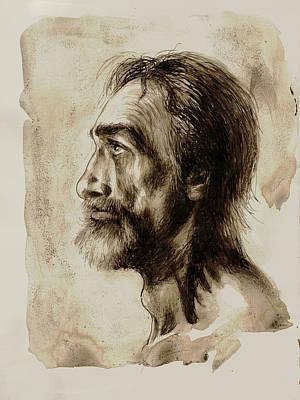 Sepia Ink Drawing - el tio Jose de R by Felix Freudzon