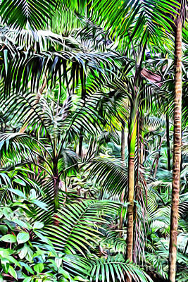 San Juan Digital Art - El Yunque Rainforest by Carey Chen