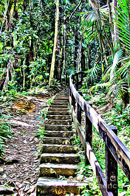 San Juan Digital Art - El Yunque Stairway by Carey Chen