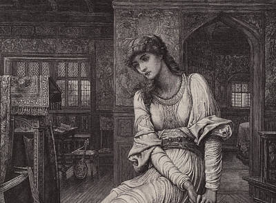 Character Portraits Drawing - Elaine by John Melhuish Strudwick